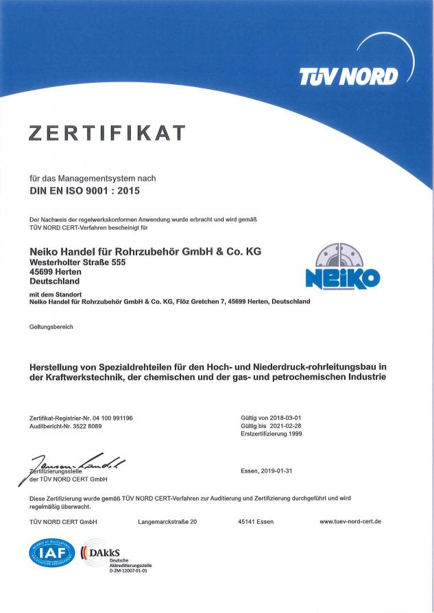 Neiko Zertifikat